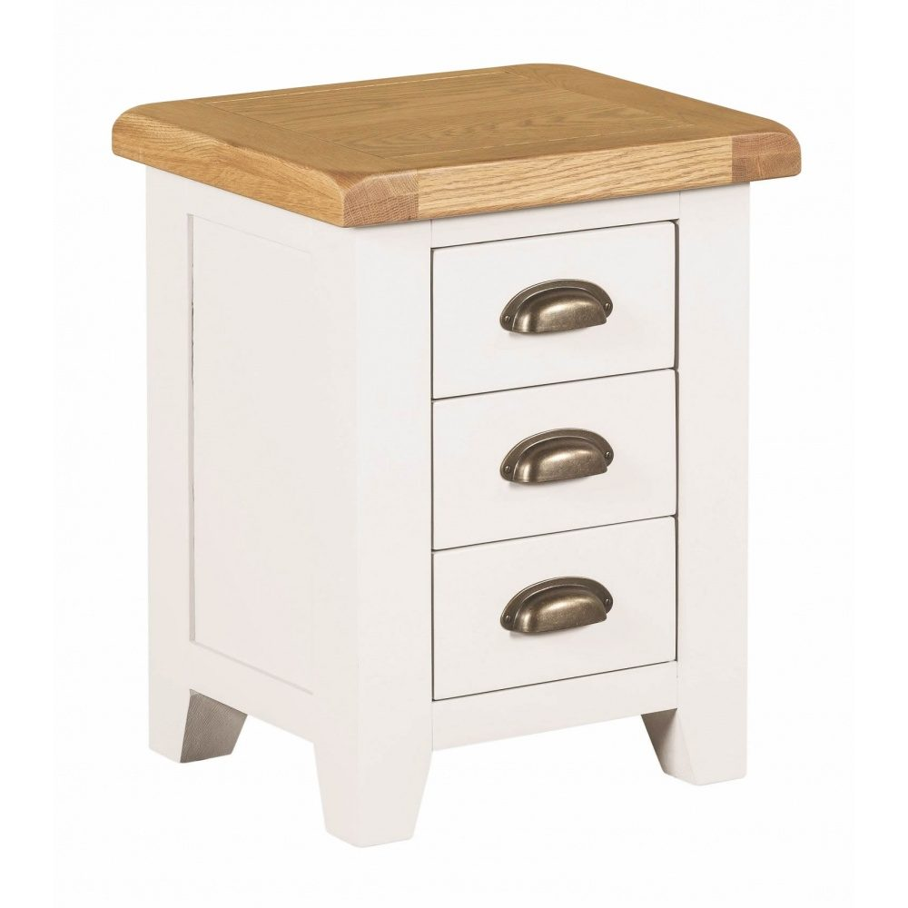 Chatsworth 3 Piece Traditional White Suite: Chatsworth 3 Drawer Bedside